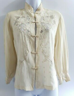 Vintage ECRU Peony Chinese Silk Blouse Hand Embroidered & Cutwork 34 Small