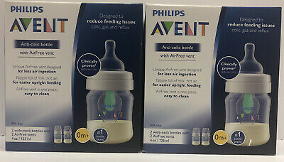Lot Of 2, Philips Avent Anti-Colic Baby Bottles 4oz 2pk