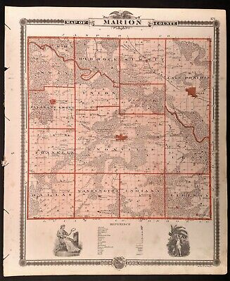 Iowa 1875, Marion Co. Cities of Ames-Melrose-Glidden-Drakeville-Conway-Pulaski +