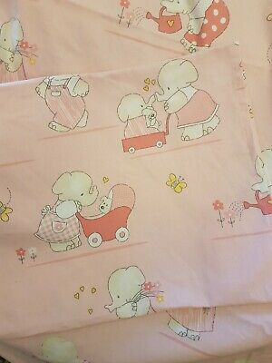 Sleeptight Pink Cot Duvet Cover & Matching Pillowcase With Elephants Design