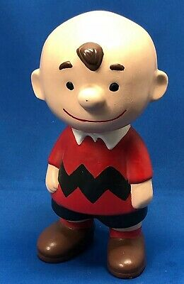 "VINTAGE 1960s CERAMIC CHARLIE BROWN, Peanuts, Red Sweater, Hand-Painted 9"" Tall"