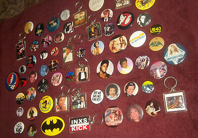63 Vintage Rock Pop New Wave 80s 90s Vintage Buttons Pins Keychains
