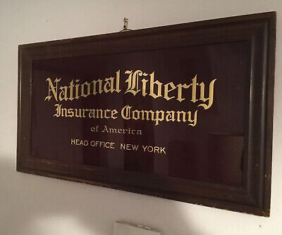 Antique Reverse Painted Glass  National Liberty Insurance Co. Advertising Sign