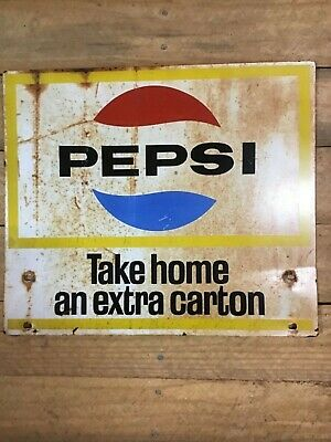 RARE 1970s Double Sided Pepsi Cola Soda Bottle Rack/Carton  Sign