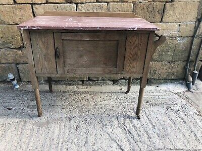 Victorian Marble topped Oak washstand