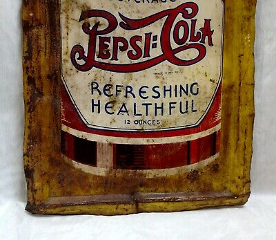 Vintage LARGE 5 Cent Pepsi Soda Double Dot 1920s 30s Advertising Sign LOOK READ
