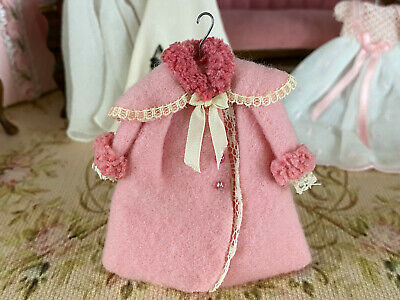 Vintage Mini Dollhouse Artisan Little Girl's Cashmere Wool Pink Display Coat