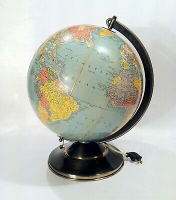Vintage 1935-1938 Replogle Precision Lighted 12 Inch World Globe NICE