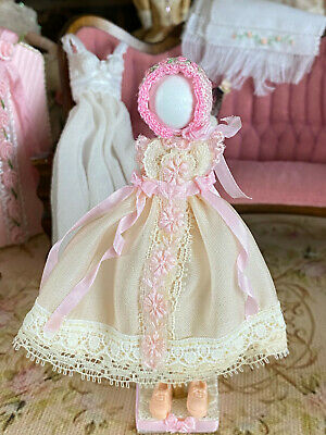 Vintage Mini Dollhouse Artisan Little Girl's Display Mannequin Silk Dress & Hat