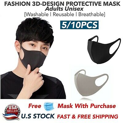 5/10PCS Washable Reusable Adults Unisex 3D Black Face Mask Mouth Nose Cover