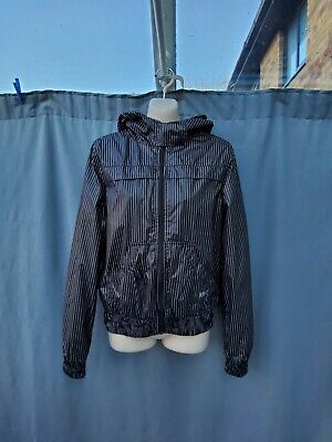 Roxy Kids Brown White Stripes Hooded Wind Running Jacket Size M VGC