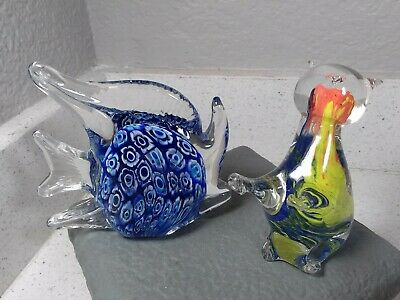 2 strikiing studio art glass figurines, an unusual better quality cat and a fish