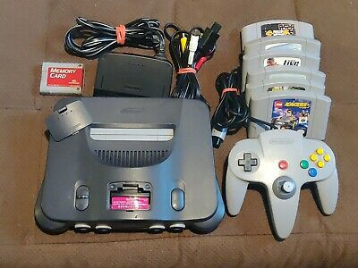 Nintendo 64 N64 Console Works 6 Games Madden NBA Namco Lego Racers Beetle