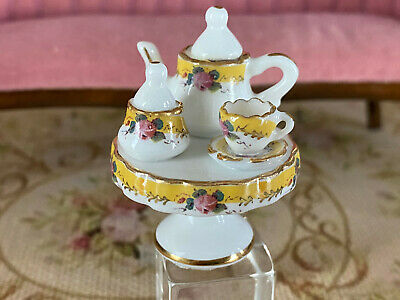 Vintage Mini Dollhouse Artisan Porcelain Yellow Tea Set Footed Plate Diorama