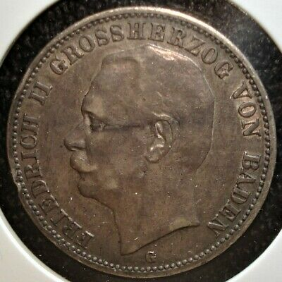 1909 G Silver 3 Mark Coin from Baden (German States)