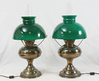 AS IS Rayo Antique Brass Converted Oil Table Lamps Pair Cased Green Glass Shade