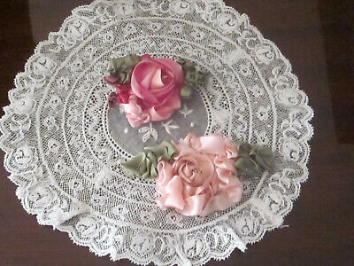 Vintage 2 Beautiful Silk Ribbon Work Roses In The Pinks Roses H.made French Doll