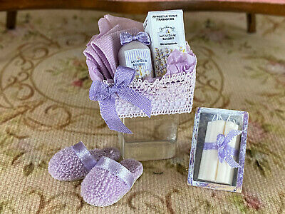 Vintage Mini Dollhouse Artisan Lavender Bath Set Decor Slippers Wax Candles Box