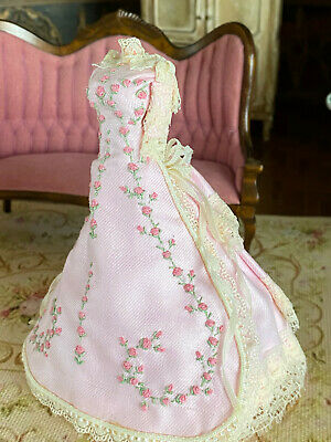 Vintage Mini Dollhouse Artisan Pink Silk Lace Display Bustled Gown on Dress Form