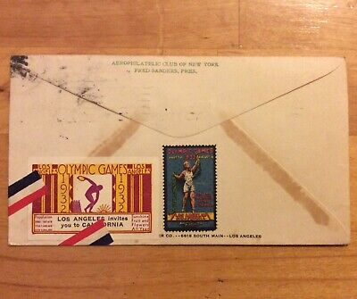1932 US LOS ANGELES FDC COVER WITH CINDERELLA POSTER STAMPSx2 OLYMPICS W/ CACHET