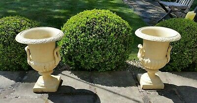 Impressive Pair of Victorian Style Painted Cast Iron Urns