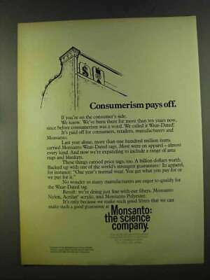 1972 Monsanto Wear-Dated Tags Ad - Consumerism Pays