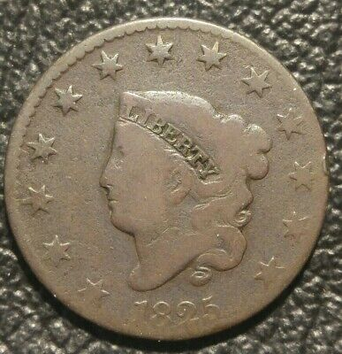 1825 Coronet Head Large Cent Penny - Circulated Condition -