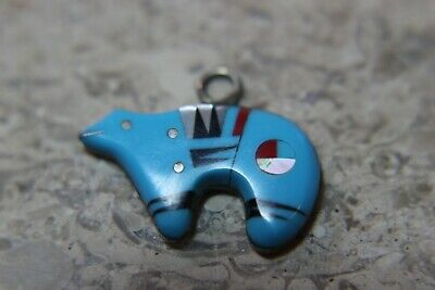 Southwest Coral Inlay Zuni Bear PENDANT Charm Turquoise Sterling Silver