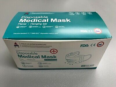 100 PCS Face Mask Disposable Medical Surgical Dental 3Ply Earloop Mouth Cover