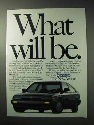 1986 Honda Accord Lxi Hatchback Car Ad - What Will Be