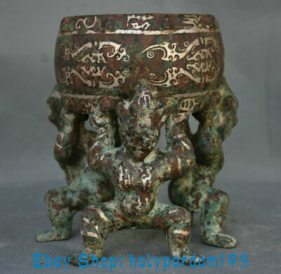 """7.2"""" Antique Old Chinese Bronze Silver Dynasty Palace Human Lift Drum Statue"""
