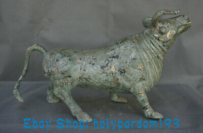 """16.4"""" Antique Old Chinese Bronze Silver Dynasty Rhinoceros Beast Statue"""