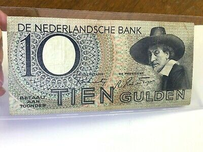1943 Netherlands 10 Gulden, Rembrandt painting Dutch Banknote, P-59