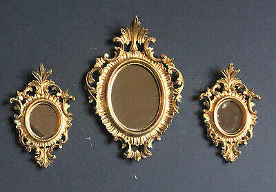 3 Vintage MIRRORS GOLD *ITALY Antique Frames Wall ITALIAN FLORENTINE Plastic