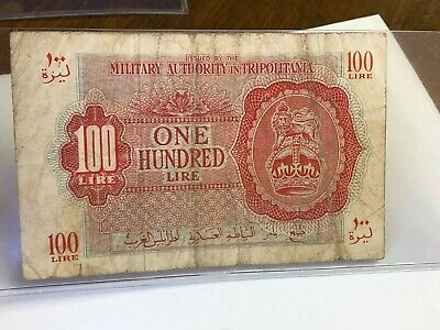 (1943) British Military Authority Tripolitania 100 Lire, WWII military currency