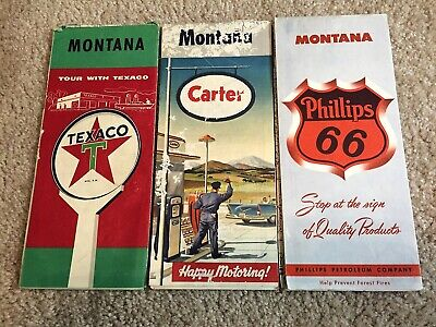 3 Vtg Montana Road Maps Texaco Phillips 66 Carter Oil Companys Advertising Bikes