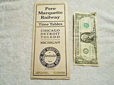 May 1, 1924 Pere Marquette Railroad Co Time Table w Map Chicago Detroit Toledo