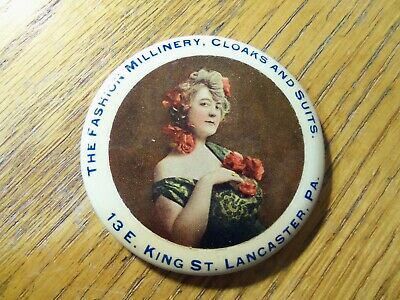 Antique Vintage Celluloid Advertising Pocket Mirror Fashion Millinery Lancaster