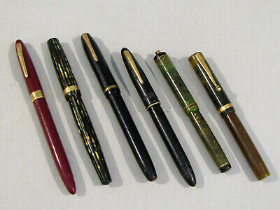 6 Vintage FOUNTAIN PENS -PARKER -SHAEFFER -WEAREVER -WATERMAN -FOR RESTORATION
