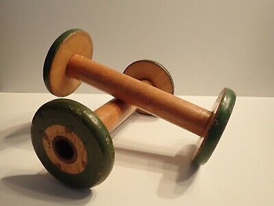 2 Vintage Wooden Mill Spools Textile Thread Bobbin Spindles Industrial Antique