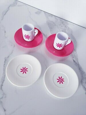 "American Girl 6pc Bistro Pink Flower Mugs Saucers Tea Bitty Baby 18"" Doll Lot"