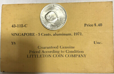 1971 Singapore 5 Cents FAO Pomfret Fish Uncirculated with Old Littleton Envelope