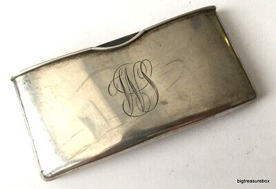 Vtg ANTIQUE Business Card Holder Cap MARKED STERLING SILVER 925 Engraved WS