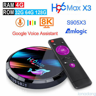 8K H96 Max X3 Smart Android9.0 TV Box S905X3 Quad Core 2.4G 5G WiFi Media Player