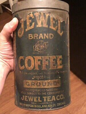 Rare Antique Jewel Brand Coffee Can 3 Lbs Paper Label Early Jewel Tea co Tin