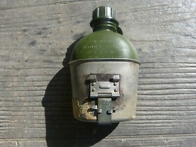 Cup canteen steel and bottle water plastic both dated 1969