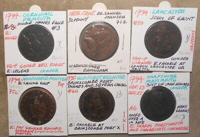Lot F: 6 Different Conder Tokens Lower Grade Etc.