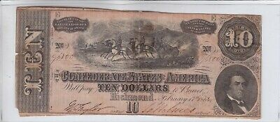 1864 $10 Confederate Note Currency