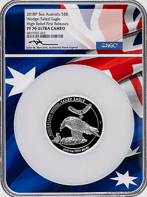 2018 Australia $8 Wedge-Tailed Eagle High Relief 5oz Silver NGC PF70 - Mercanti
