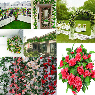 2x 2.5m Artificial Flower Silk Rose Leaf Garland Vine Ivy Home Wedding Garden CZ